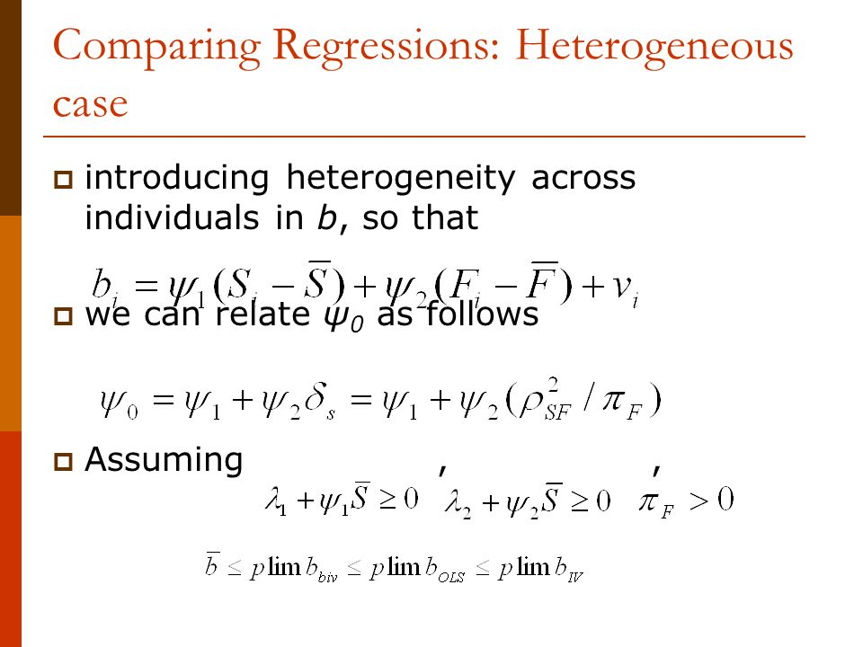 Comparing Regressions: Heterogeneous case