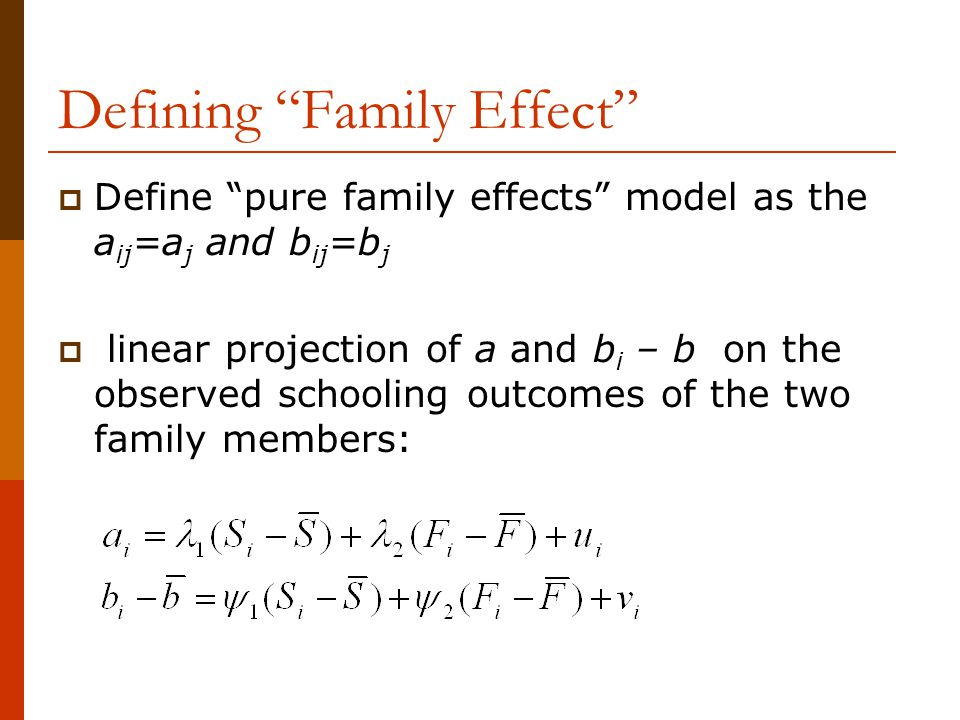 Defining Family Effect