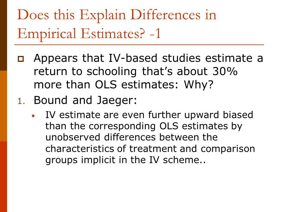Does this Explain Differences in Empirical Estimates -1