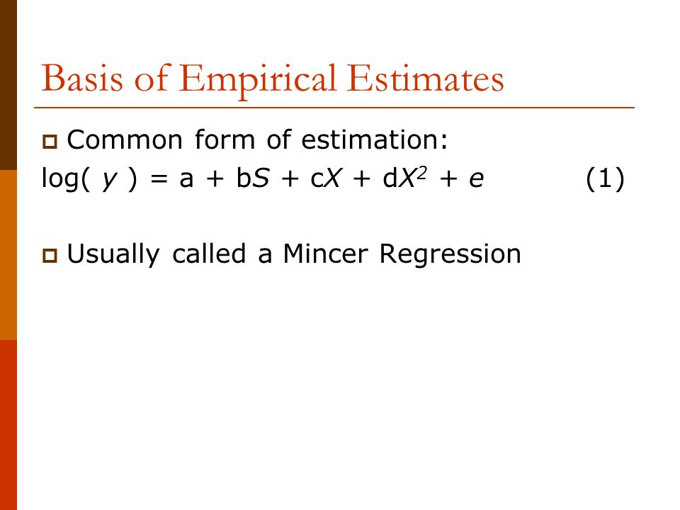 Basis of Empirical Estimates