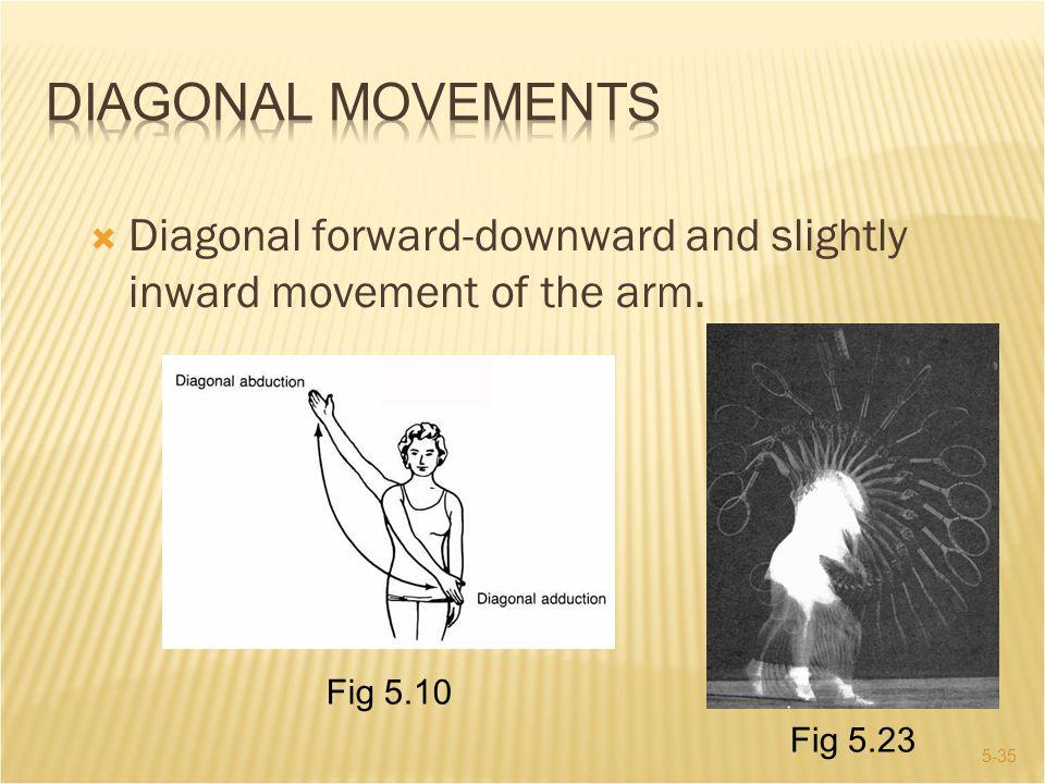 Diagonal Movements Diagonal forward-downward and slightly inward movement of the arm.