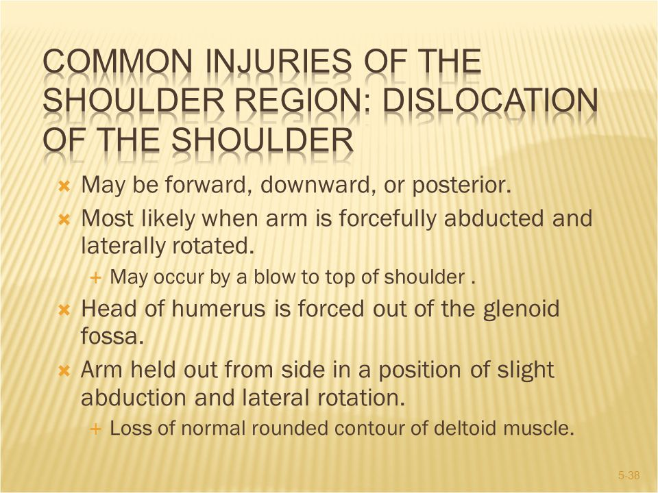 COMMON INJURIES OF THE SHOULDER REGION: Dislocation of the Shoulder