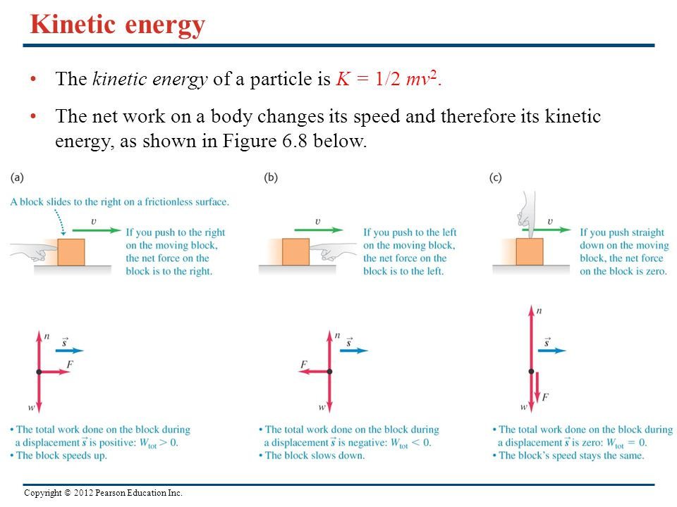 Kinetic energy The kinetic energy of a particle is K = 1/2 mv2.