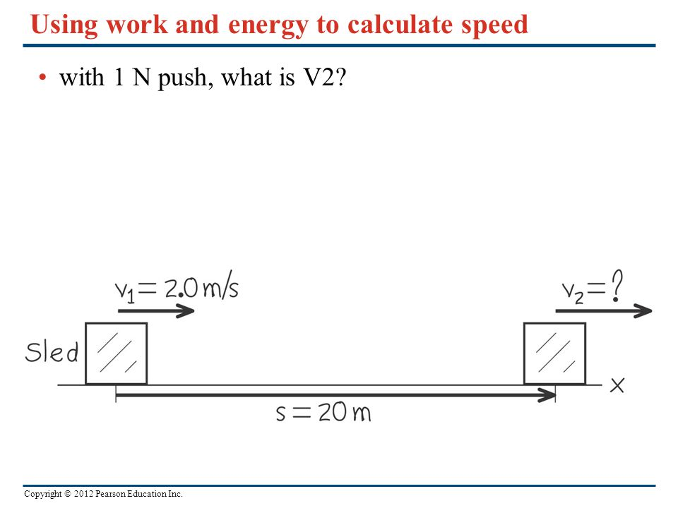 Using work and energy to calculate speed