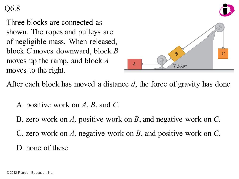 After each block has moved a distance d, the force of gravity has done