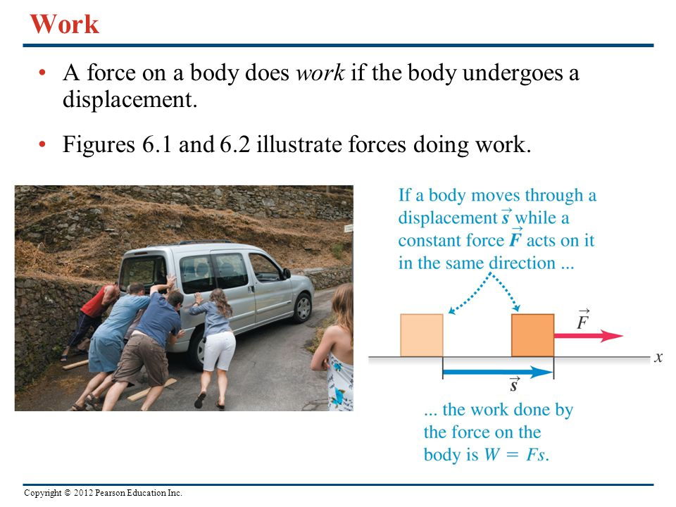 Work A force on a body does work if the body undergoes a displacement.