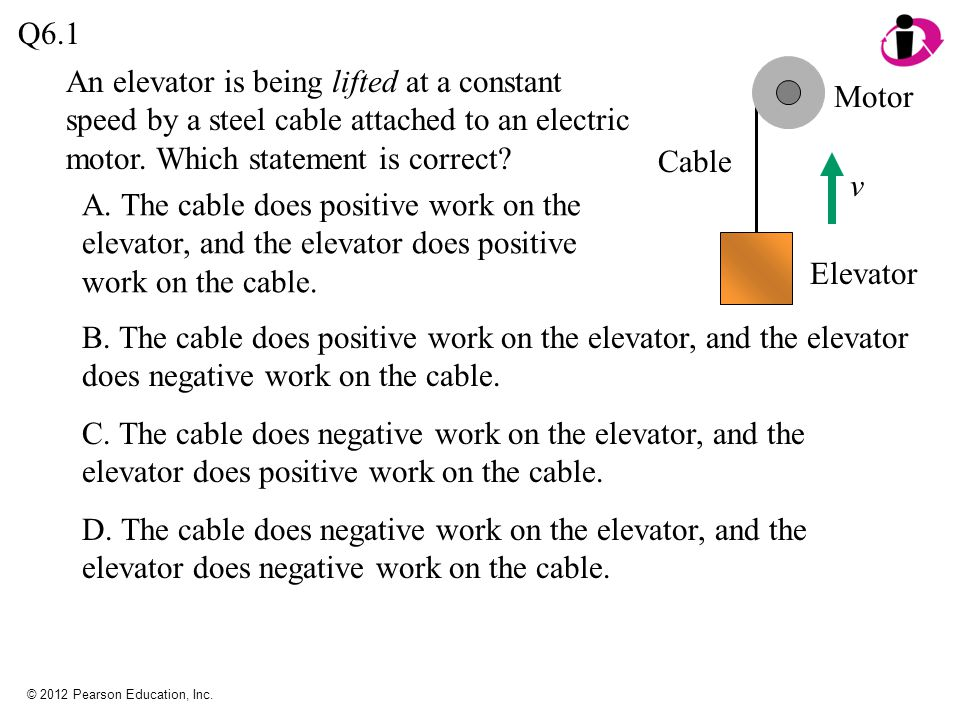 Q6.1 An elevator is being lifted at a constant speed by a steel cable attached to an electric motor. Which statement is correct
