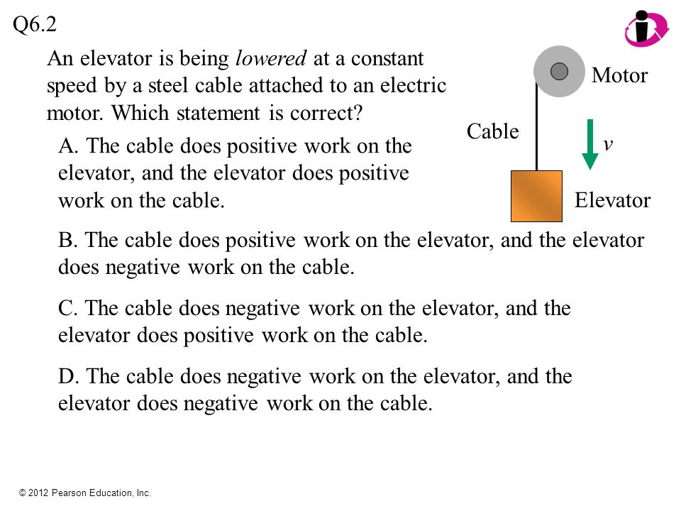 Q6.2 An elevator is being lowered at a constant speed by a steel cable attached to an electric motor. Which statement is correct