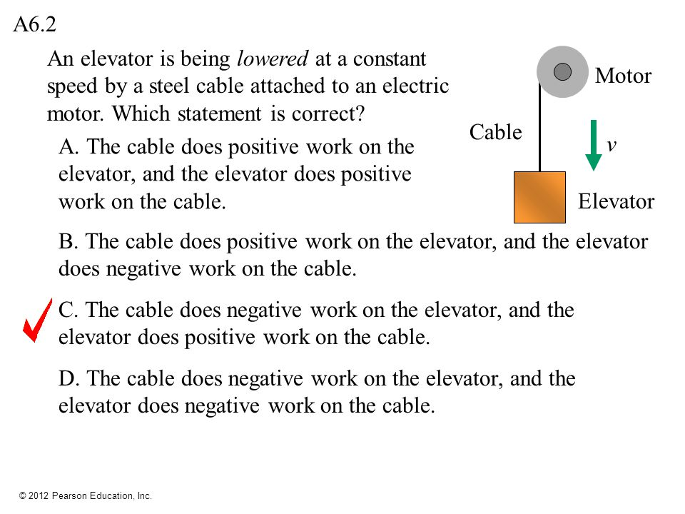 A6.2 An elevator is being lowered at a constant speed by a steel cable attached to an electric motor. Which statement is correct