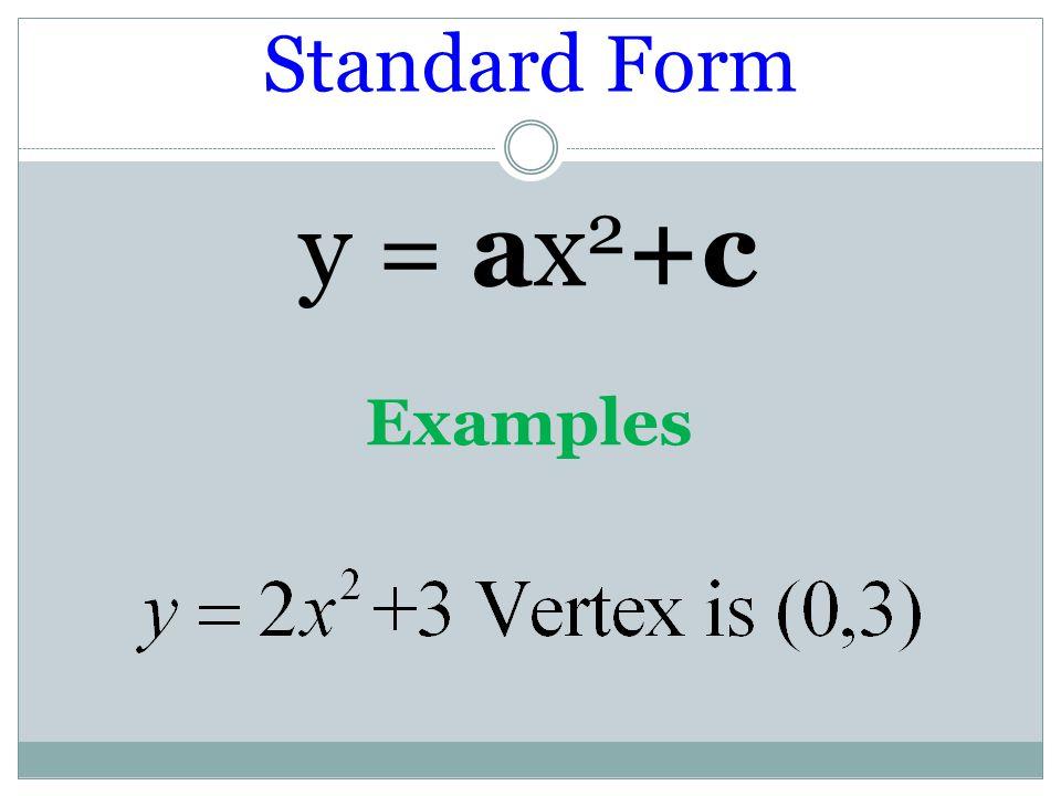 Standard Form y = ax2+c Examples