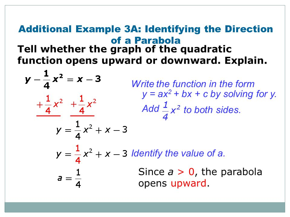 Additional Example 3A: Identifying the Direction of a Parabola