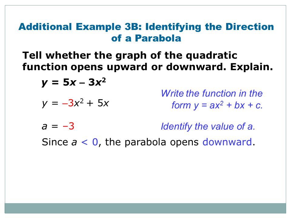 Additional Example 3B: Identifying the Direction of a Parabola