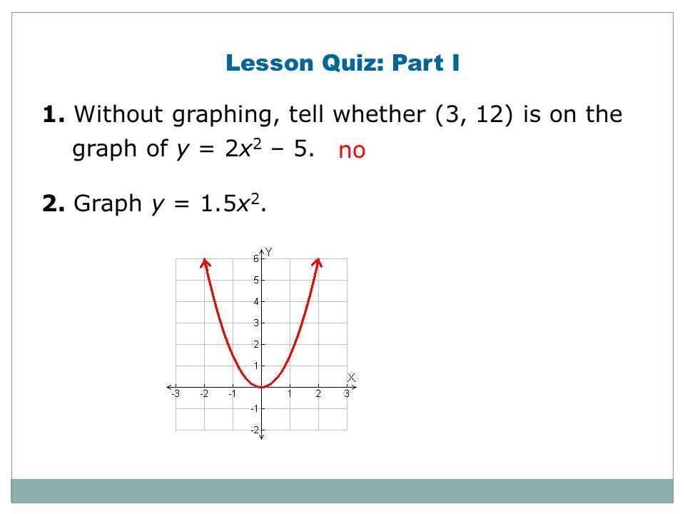 Lesson Quiz: Part I 1. Without graphing, tell whether (3, 12) is on the graph of y = 2x2 – 5. 2. Graph y = 1.5x2.