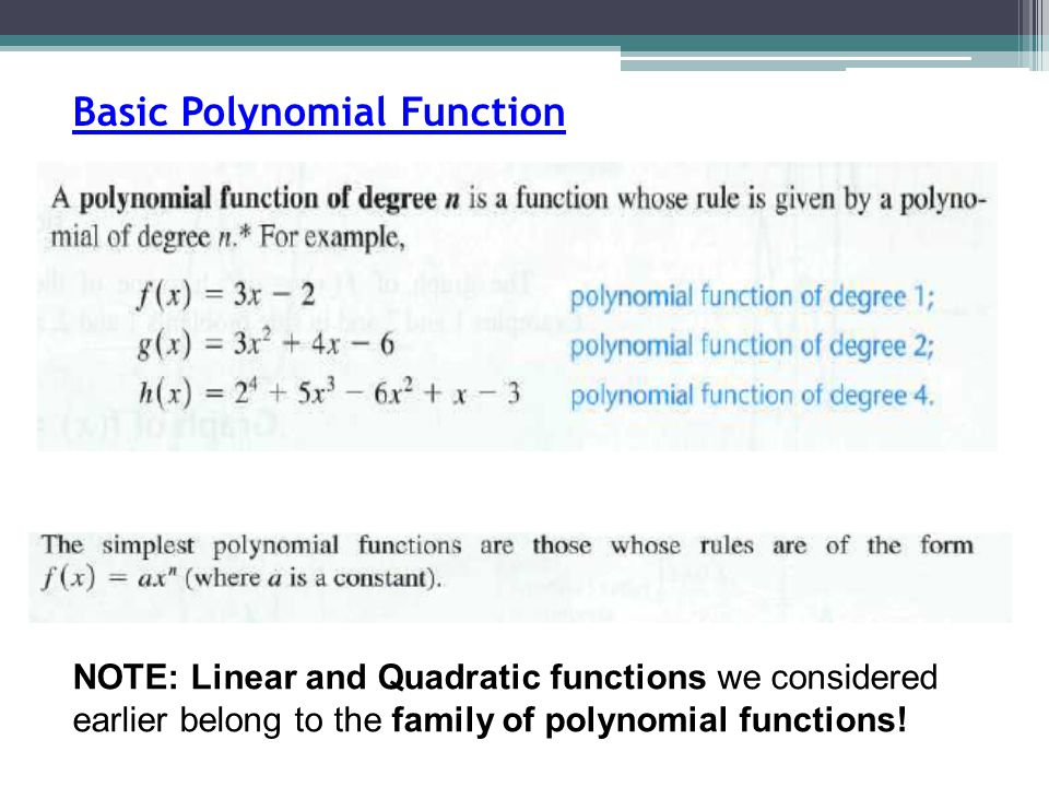 Basic Polynomial Function