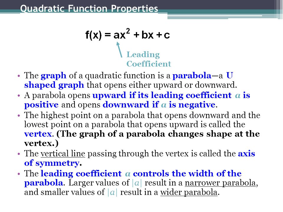 Quadratic Function Properties