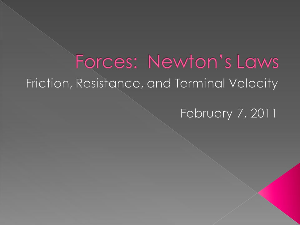 Friction, Resistance, and Terminal Velocity February 7, 2011