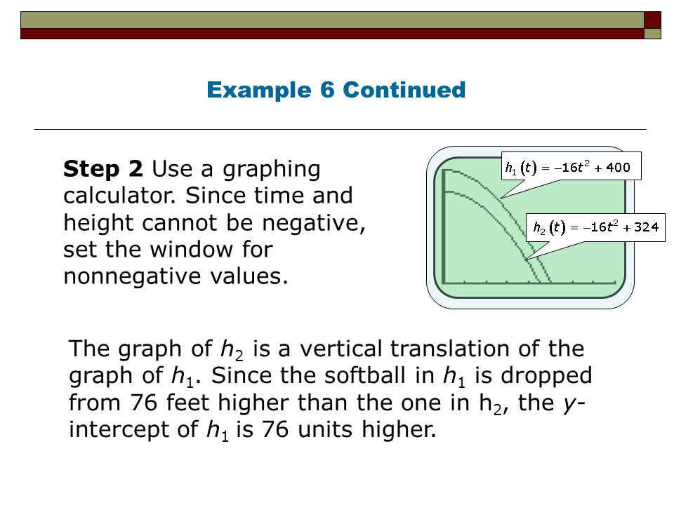 Example 6 Continued Step 2 Use a graphing calculator. Since time and height cannot be negative, set the window for nonnegative values.