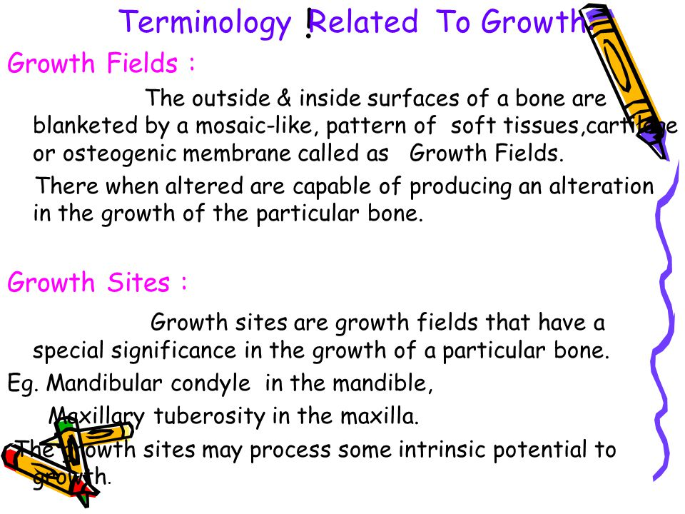 i Terminology Related To Growth: Growth Fields : Growth Sites :