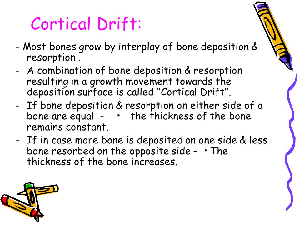 Cortical Drift: - Most bones grow by interplay of bone deposition & resorption .