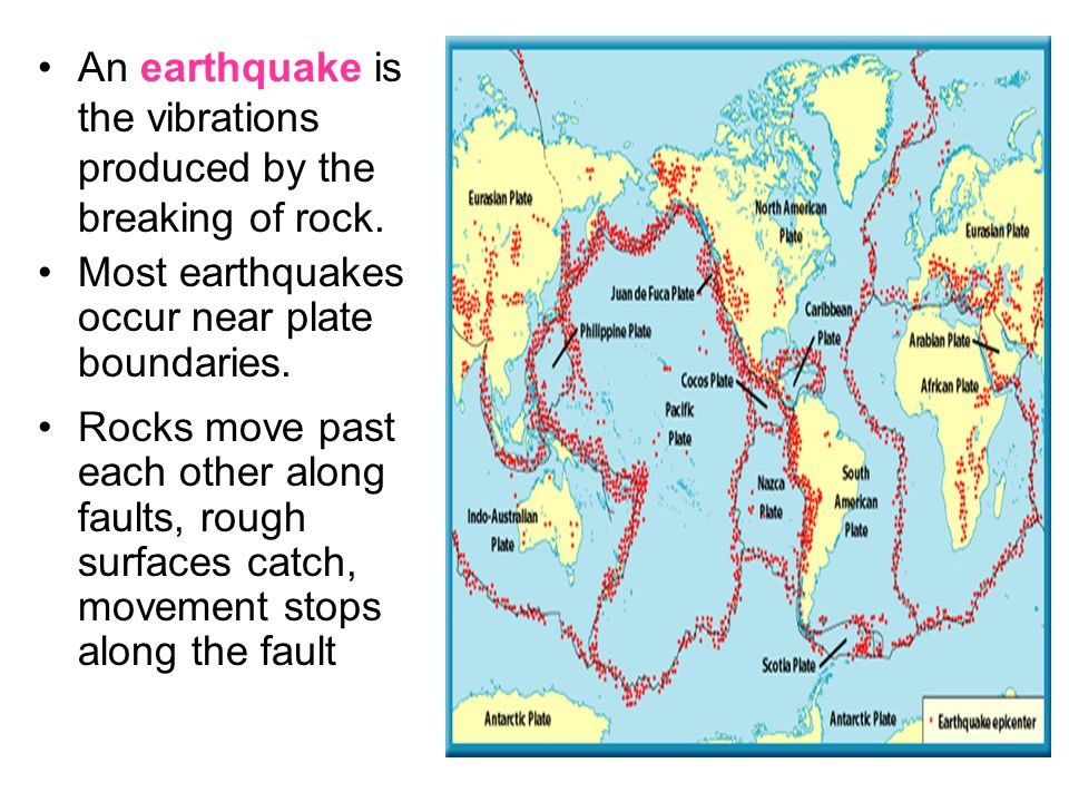 An earthquake is the vibrations produced by the breaking of rock.