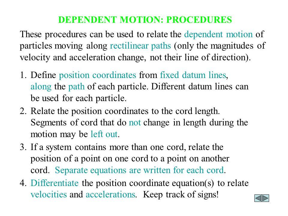 DEPENDENT MOTION: PROCEDURES