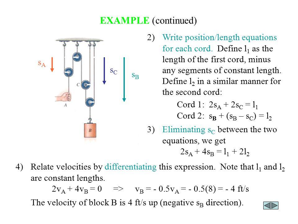 2vA + 4vB = 0 => vB = - 0.5vA = - 0.5(8) = - 4 ft/s