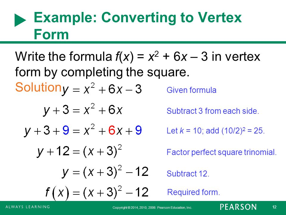 Example: Converting to Vertex Form