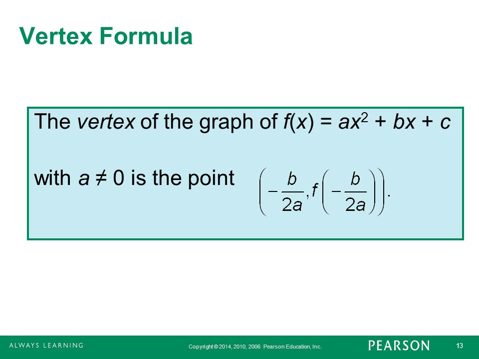 Vertex Formula The vertex of the graph of f(x) = ax2 + bx + c