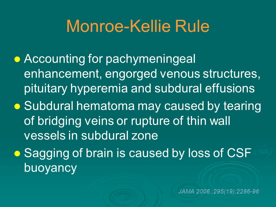 Monroe-Kellie Rule Accounting for pachymeningeal enhancement, engorged venous structures, pituitary hyperemia and subdural effusions.