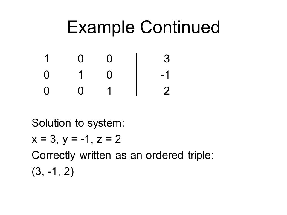 Example Continued 1 0 0 3 0 1 0 -1 0 0 1 2 Solution to system: