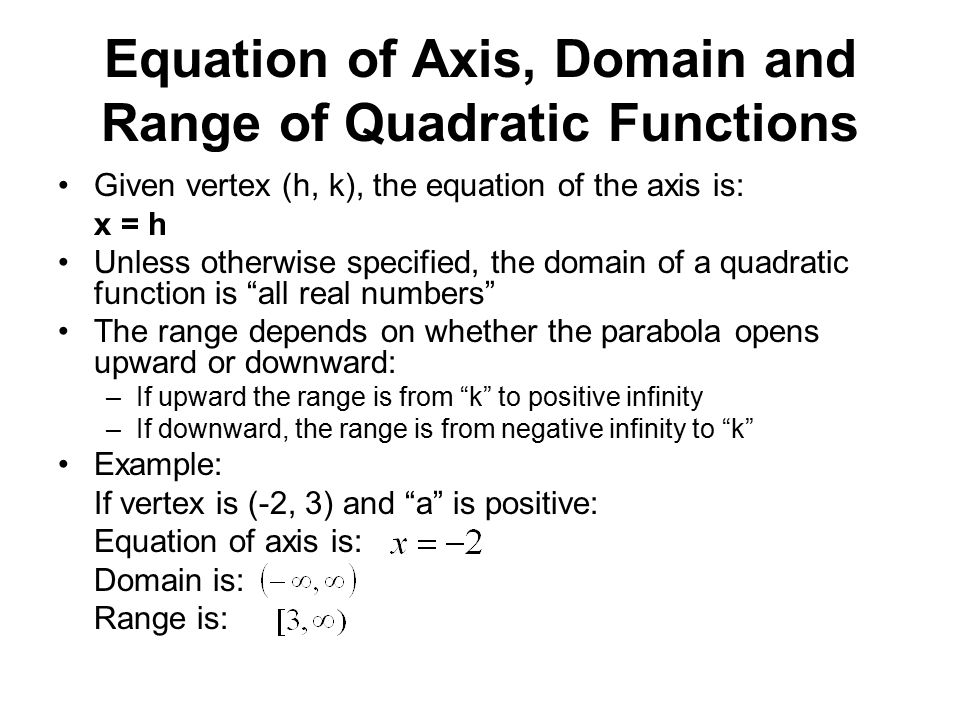 Equation of Axis, Domain and Range of Quadratic Functions