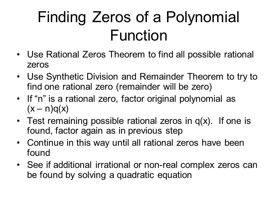 Finding Zeros of a Polynomial Function