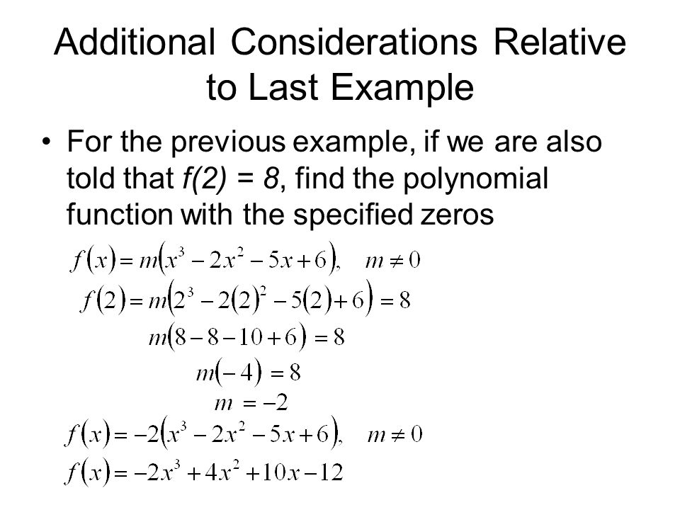 Additional Considerations Relative to Last Example