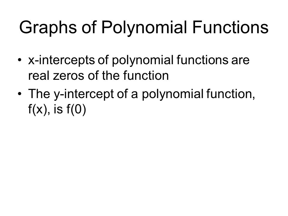 Graphs of Polynomial Functions