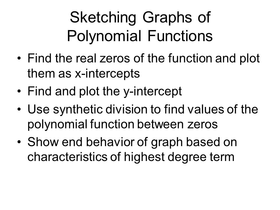 Sketching Graphs of Polynomial Functions