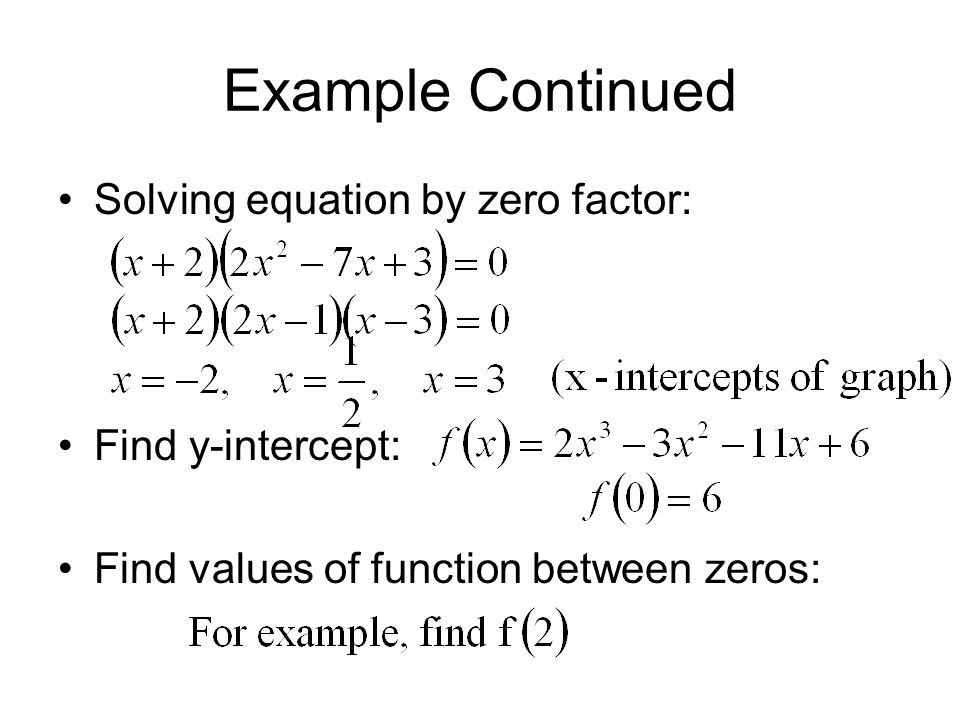 Example Continued Solving equation by zero factor: Find y-intercept: