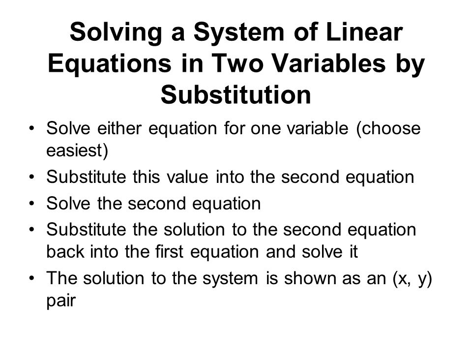 Solving a System of Linear Equations in Two Variables by Substitution