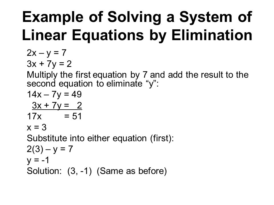 Example of Solving a System of Linear Equations by Elimination