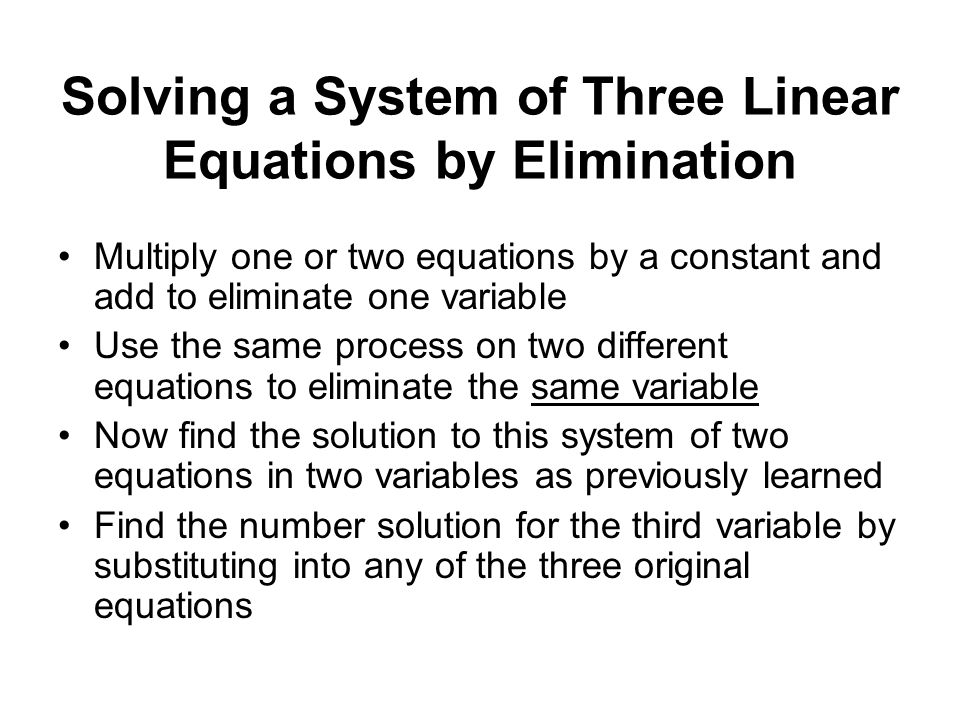 Solving a System of Three Linear Equations by Elimination