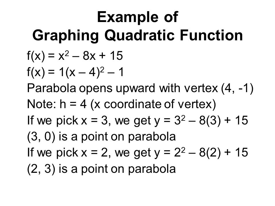 Example of Graphing Quadratic Function