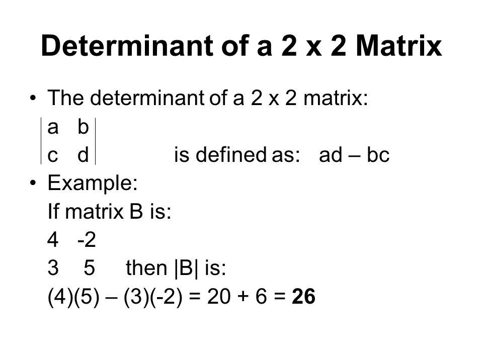 Determinant of a 2 x 2 Matrix