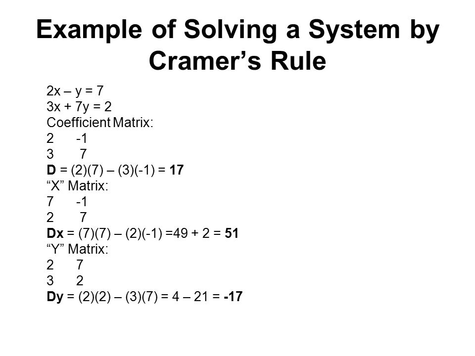Example of Solving a System by Cramer's Rule