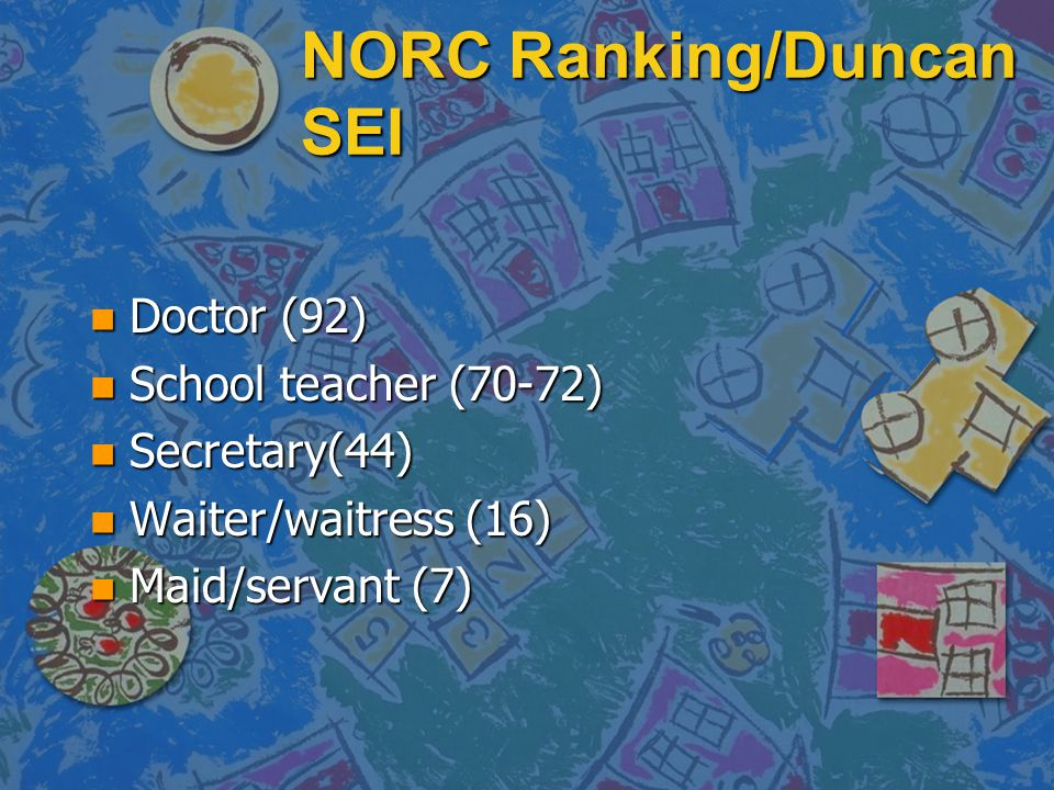 NORC Ranking/Duncan SEI