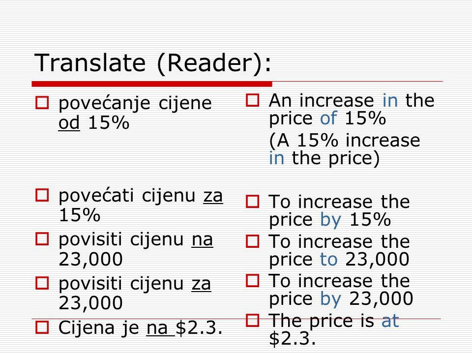 Translate (Reader): povećanje cijene od 15% povećati cijenu za 15%