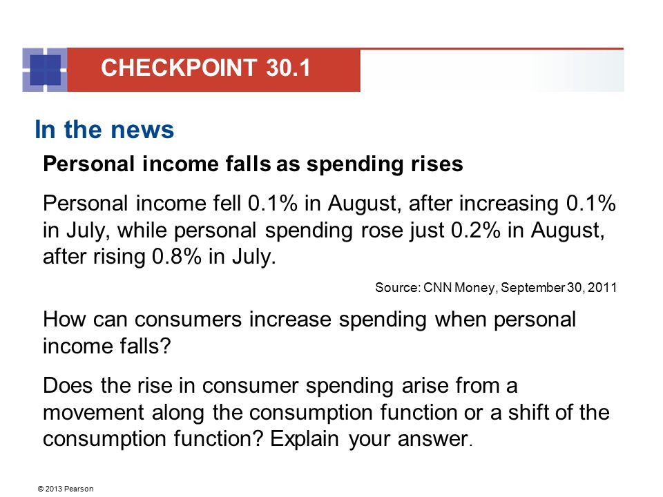 In the news CHECKPOINT 30.1 Personal income falls as spending rises