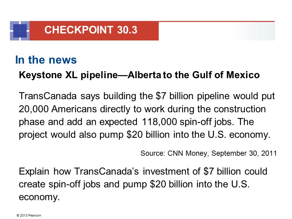 CHECKPOINT 30.3 In the news. Keystone XL pipeline—Alberta to the Gulf of Mexico.