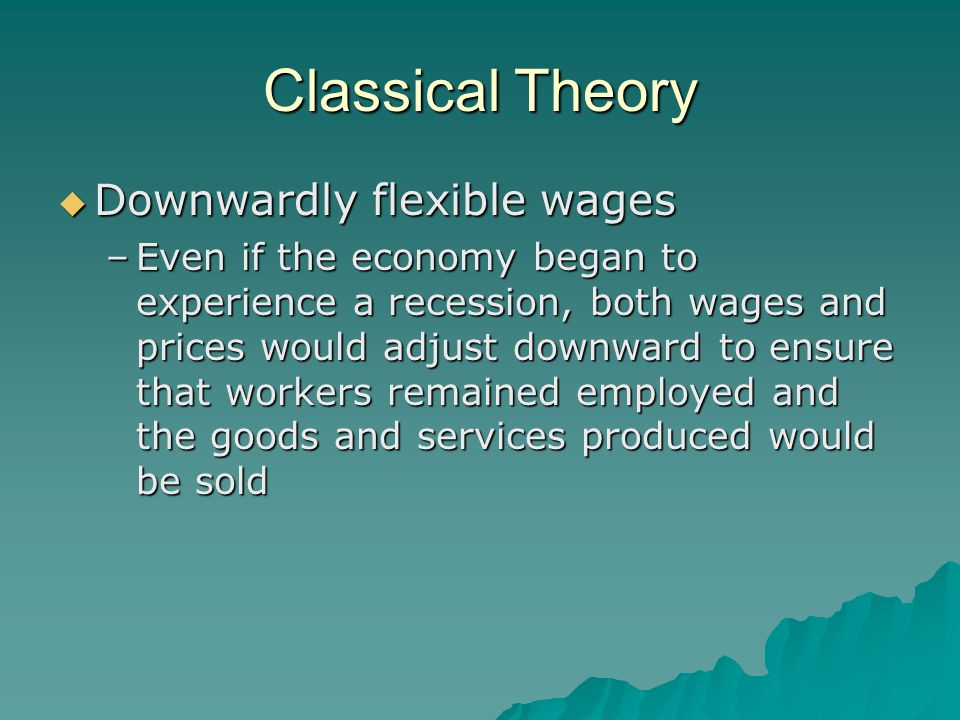 Classical Theory Downwardly flexible wages