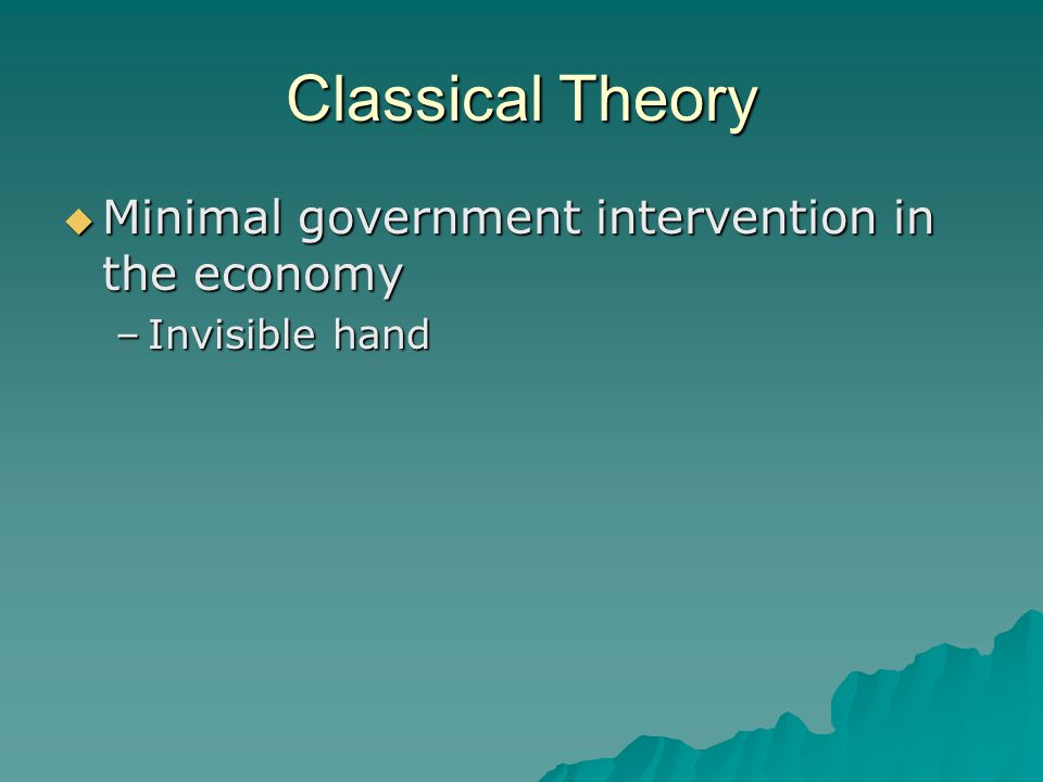 Classical Theory Minimal government intervention in the economy