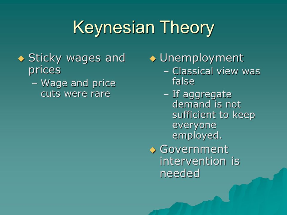 Keynesian Theory Sticky wages and prices Unemployment