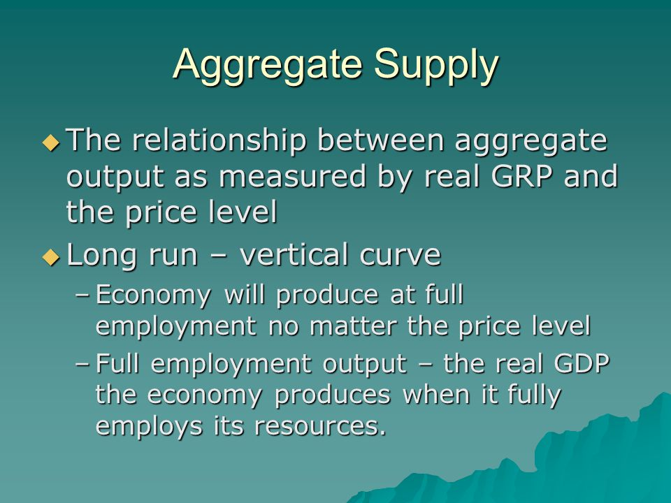Aggregate Supply The relationship between aggregate output as measured by real GRP and the price level.